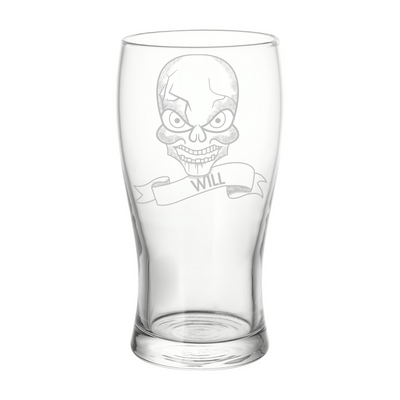Personalised Engraved Name Skull Design Pint glass