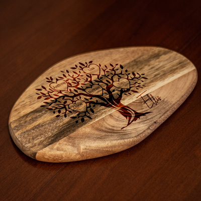 Personalised Family Tree Mango Wood Cheese Board