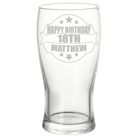 Personalised Engraved Birthday Pint Glass 18th 21st 30th 40th 60th Unique Gift