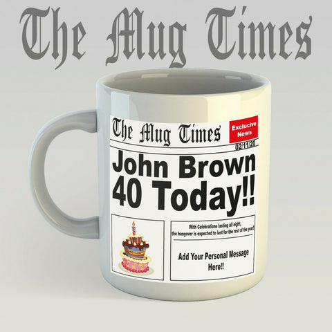 Personalised Newspaper Style Birthday Mug Novelty Fun Gift Idea