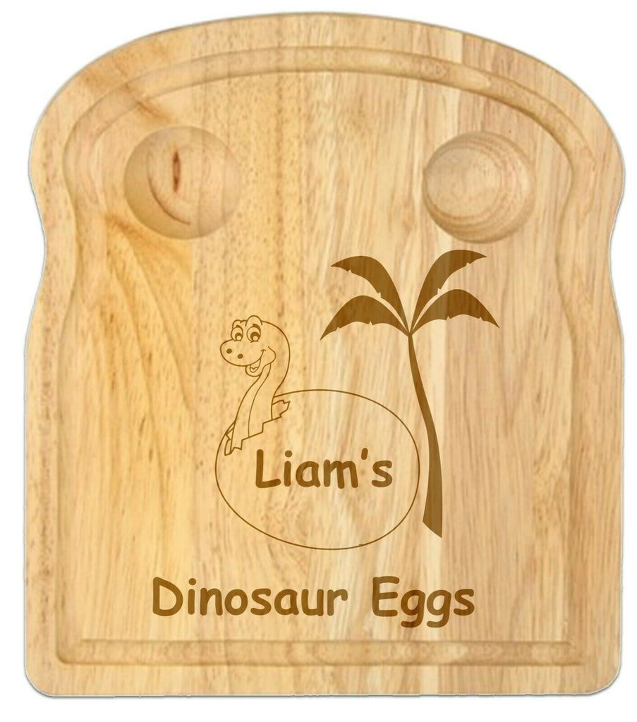 Personalised Dinosaur Egg And Soldiers Wooden Board Kids Christmas Birthday gift
