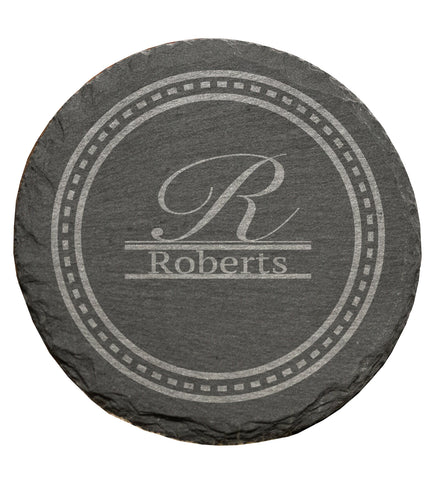 Personalised Family Surname Set of 4 Round Coaster