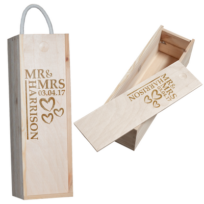 Personalised Mr & Mrs Engraved Bottle Box