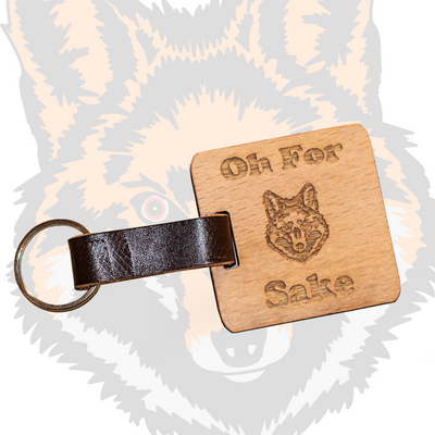 Oh For Fox Sake Wood / Leather Key Ring