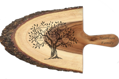 Personalised Rustic Family Tree Wooden Cheeseboard