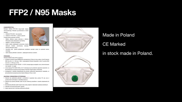 FFP2 / N95 Masks - 500-2000 £5.48-£4.80 each - Polish Made Delivery Time 5-7 Days