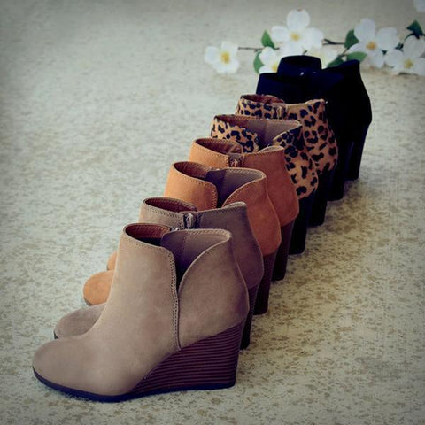 Belleyone Fall Winter Daily Wedge Booties