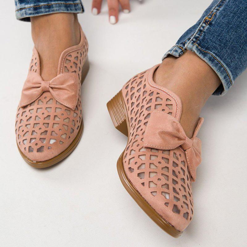 Belleyone Hollow Out Chunky Heel Loafers For Women