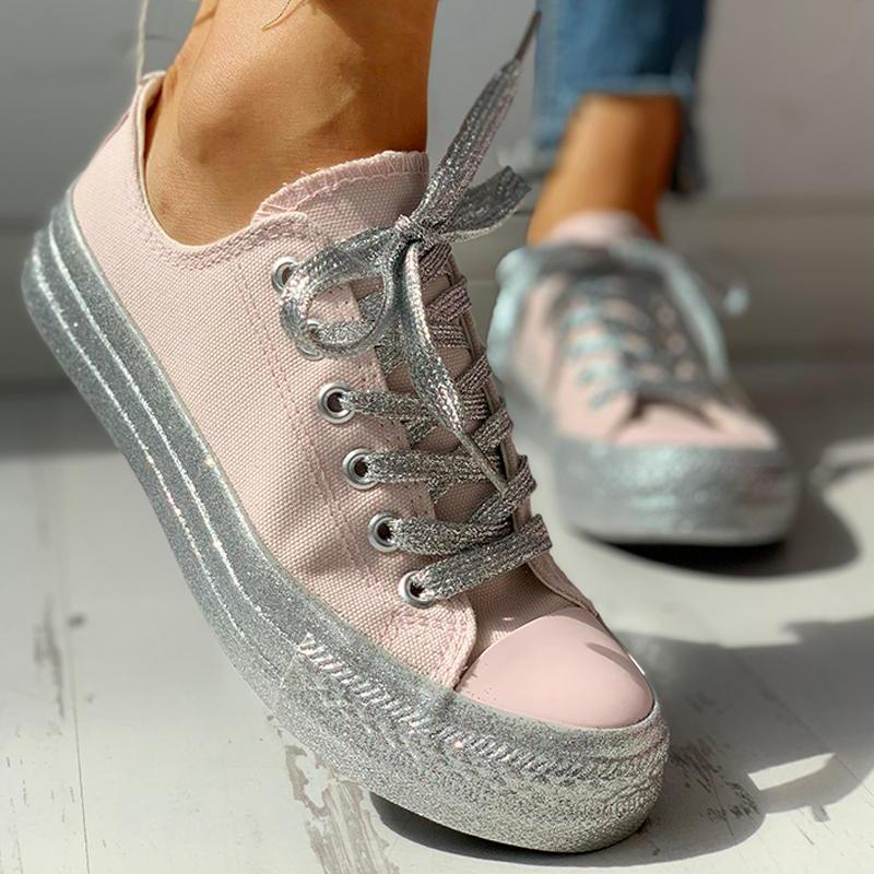 Belleyone Women Causal Lace-Up Sneakers