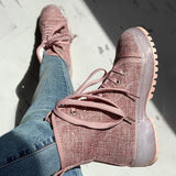 Belleyone Solid Color Lace-up Chunky Heel Boots