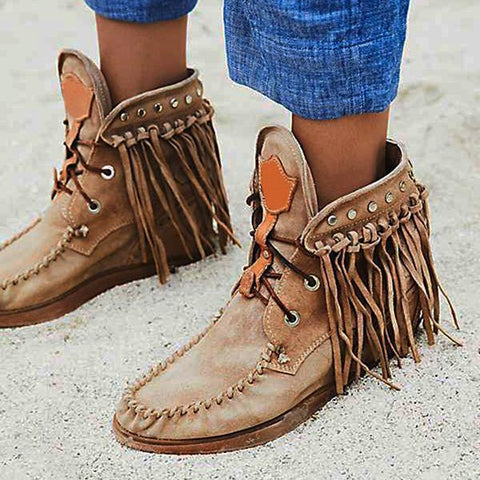 Belleyone Tassel Women's Flat Heel Suede Boots