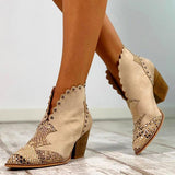 Belleyone Women Autumn & Winter Slip-On Pearl Ankle Boots