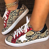 Belleyone Snakeskin Star Design Lace-Up Sneakers