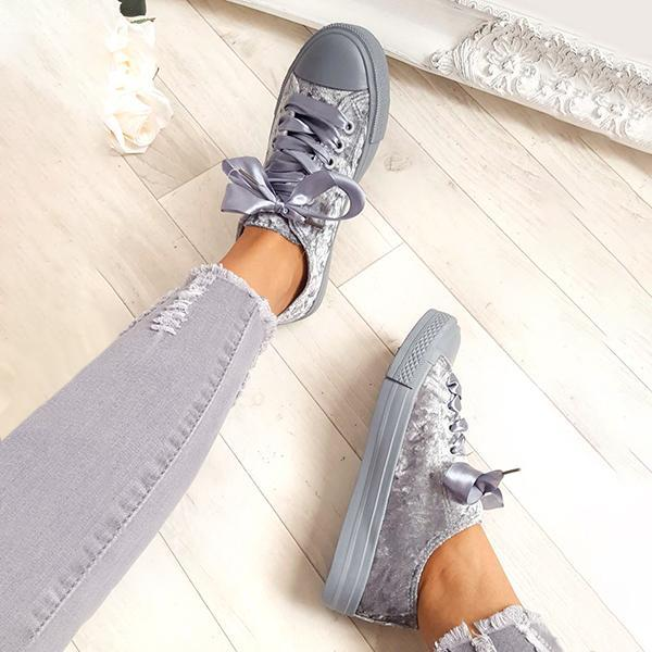 Belleyone Crushed Velvet Ribbon Platform Sneakers