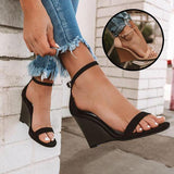 Belleyone  Adjustable Buckle Wedges Heels