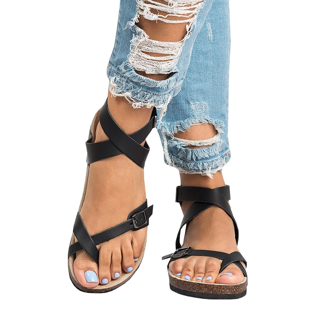 Belleyone Roman Sandals Buckle Peep-toe Flats