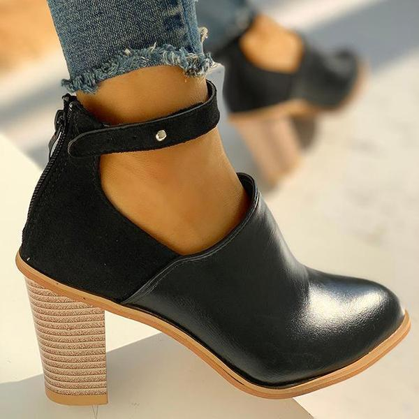 Belleyone Ankle Strap Chunky Heels