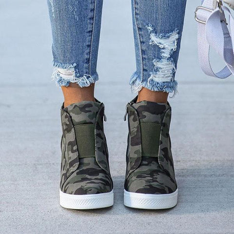 Belleyone Camo & Leopard Printed Wedge Sneakers