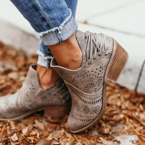 Belleyone Laser Cutout Ankle Booties