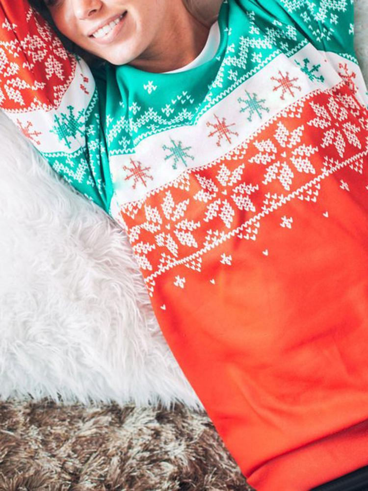Christmas Snowflakes Long Sleeve Top
