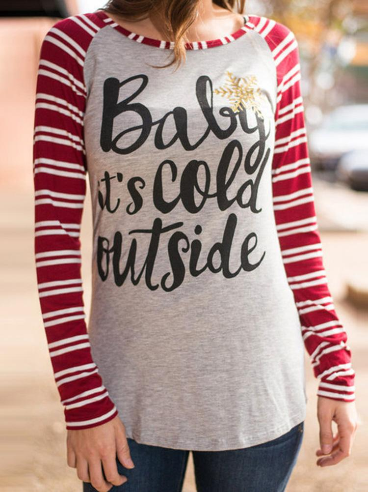 Christmas Striped Letter Print T-Shirt