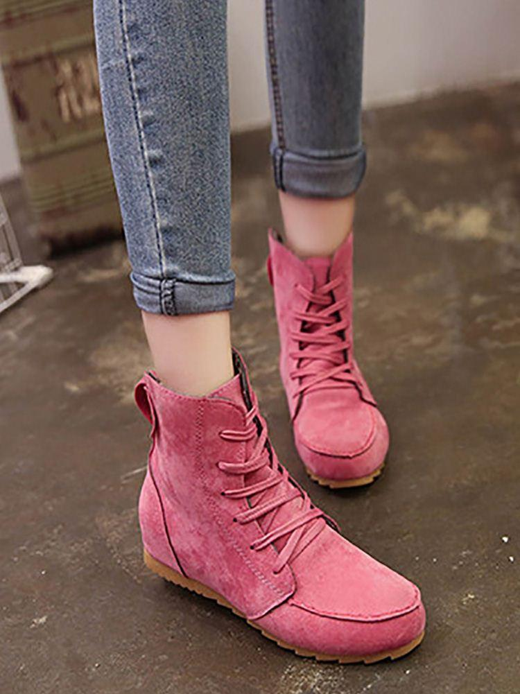 Plain Round Toe Casual Boots