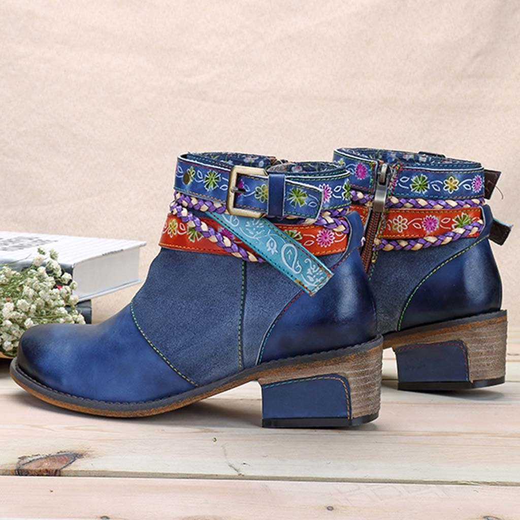 Handmade Weaving Strap Ankle Leather Boots