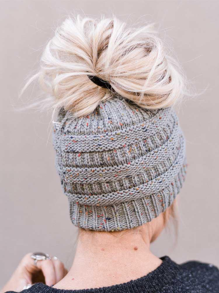 Letter Knit Ponytail Sweater Wool Cap