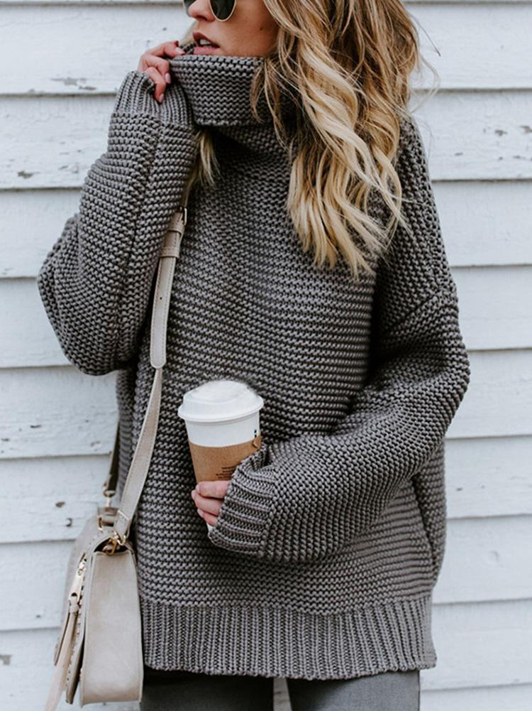 Solid Color Long Sleeve Turtleneck Pullover