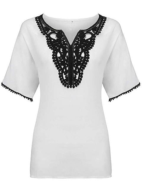 lace-splicing-short-sleeve-chiffon-blouse-swr4039