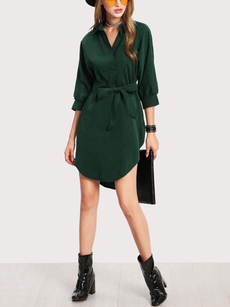 Shirt collar 3/4 Sleeve Dress