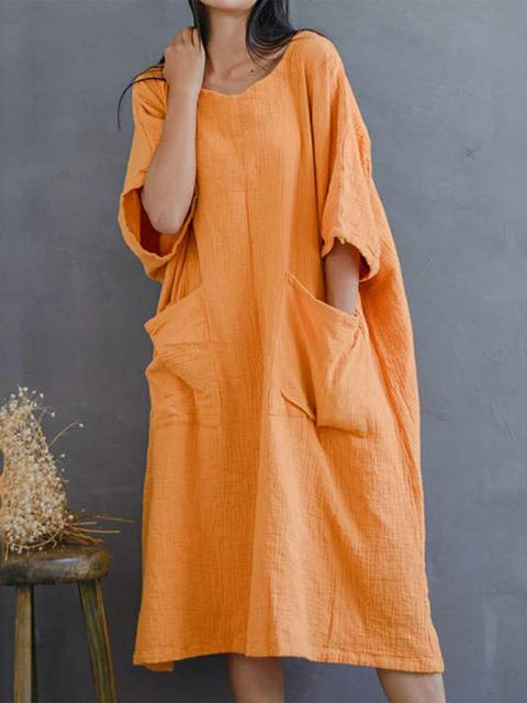 half-sleeve-pockets-cotton-loose-dress-syd6350