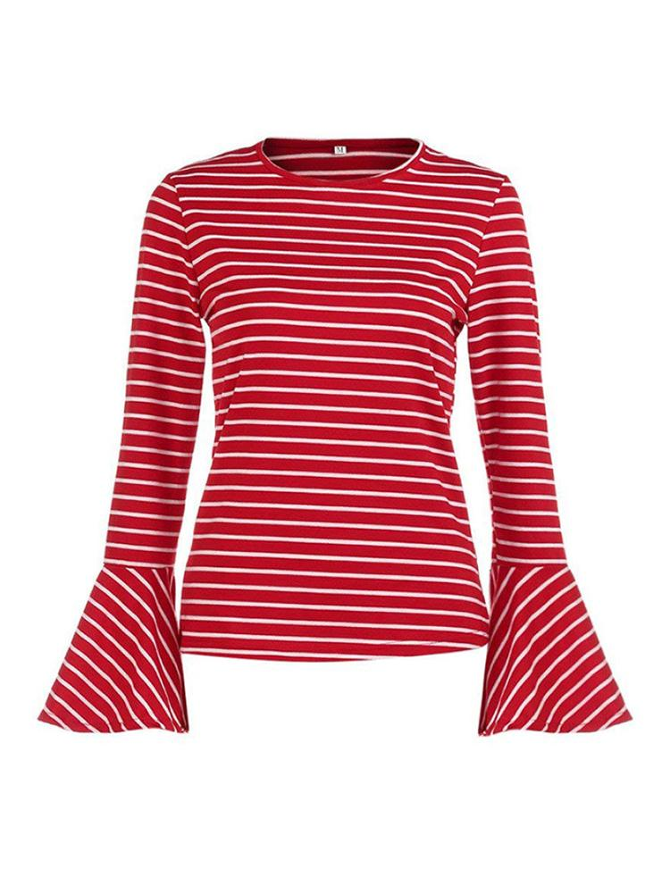 Trumpet Sleeve Striped T-Shirt