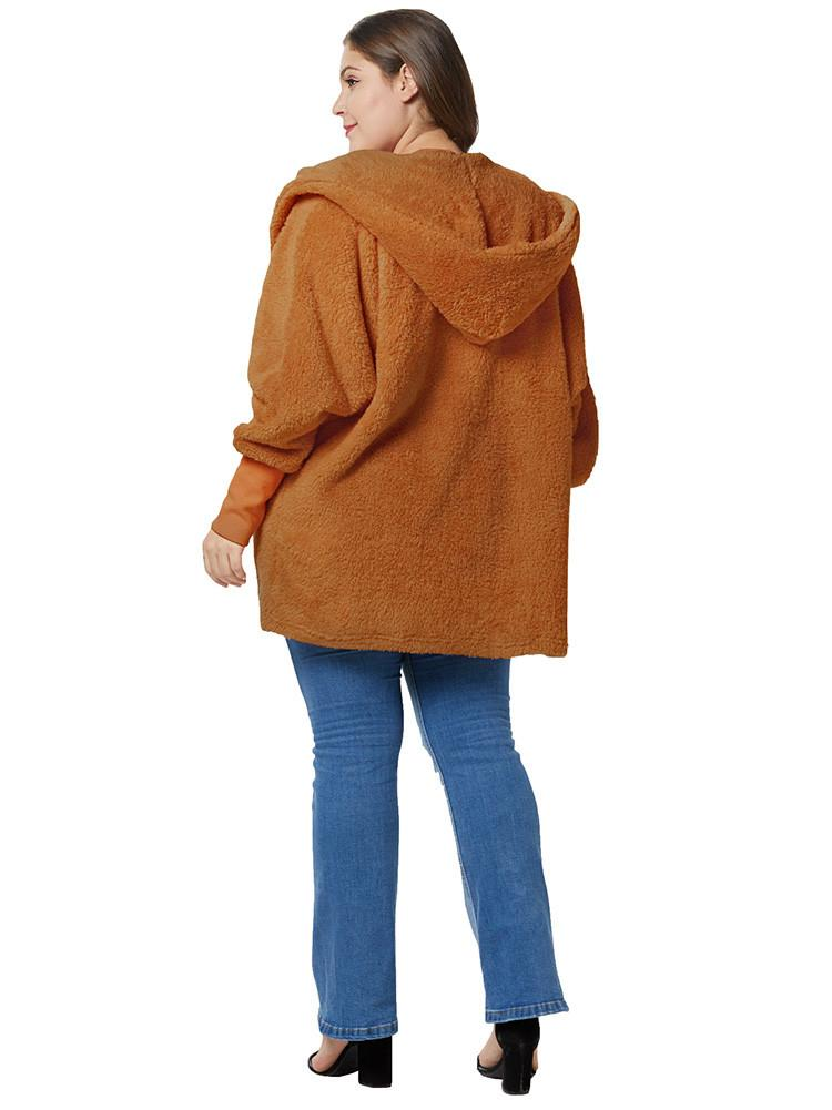 Plus Size Hooded Cardigan Coat