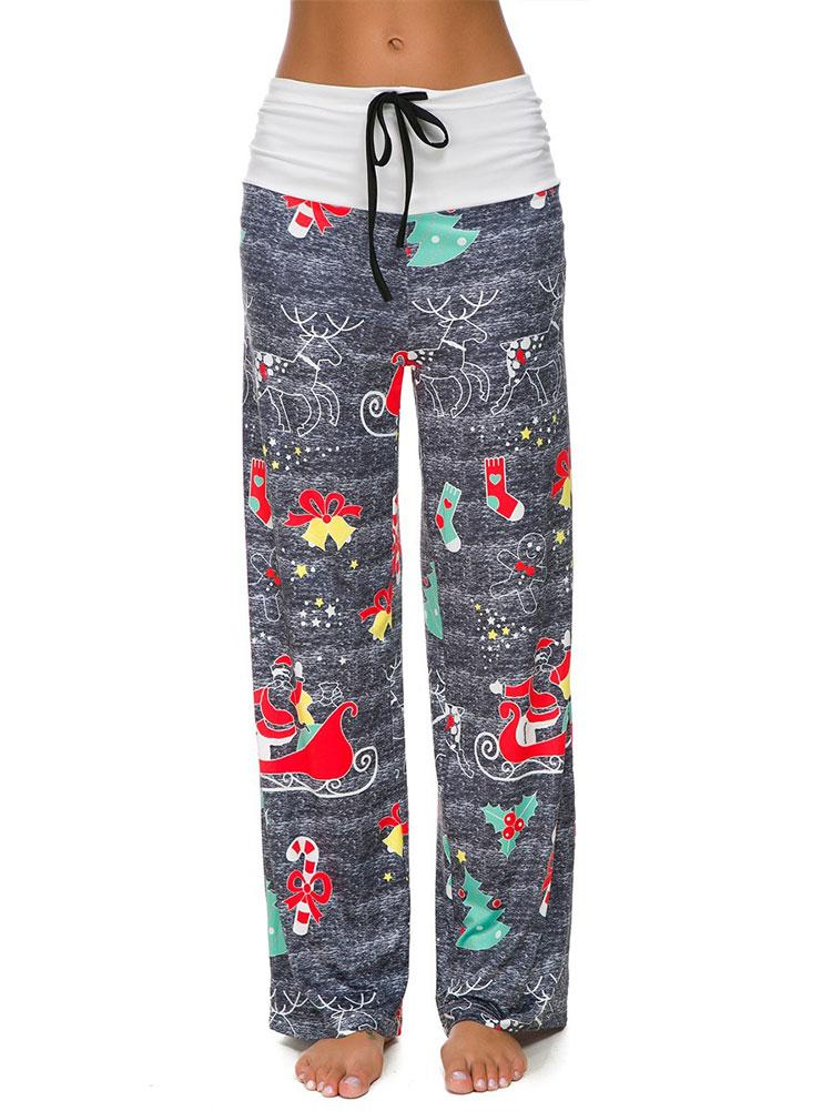 Christmas Print Stitching Wide-Leg Pants