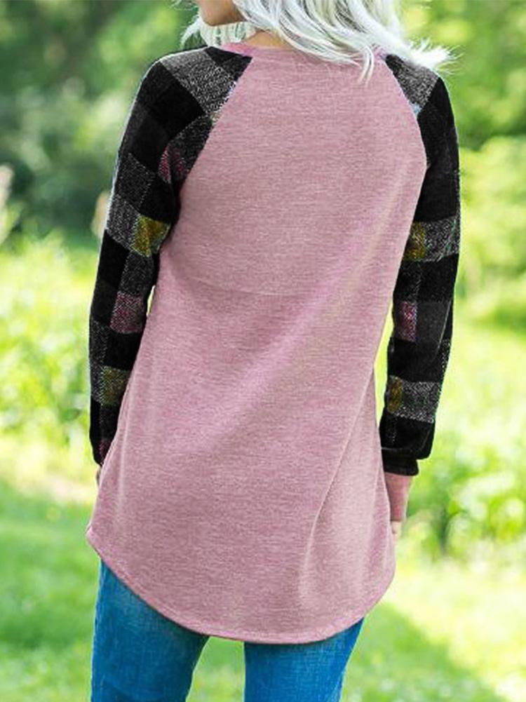 Plaid Printed Pullover Stitching Top
