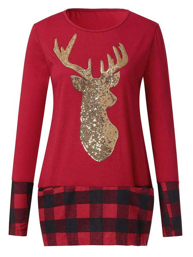Christmas Plaid Stitching Hem Reindeer Top