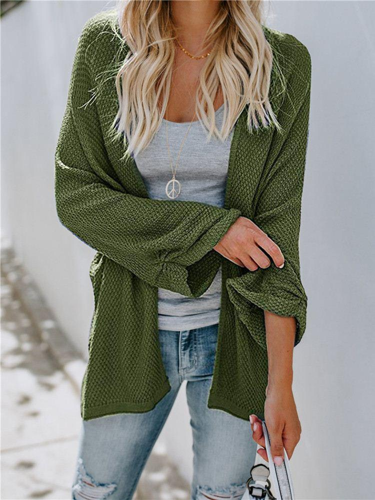 Casual Knitted Solid Cardigans Coat