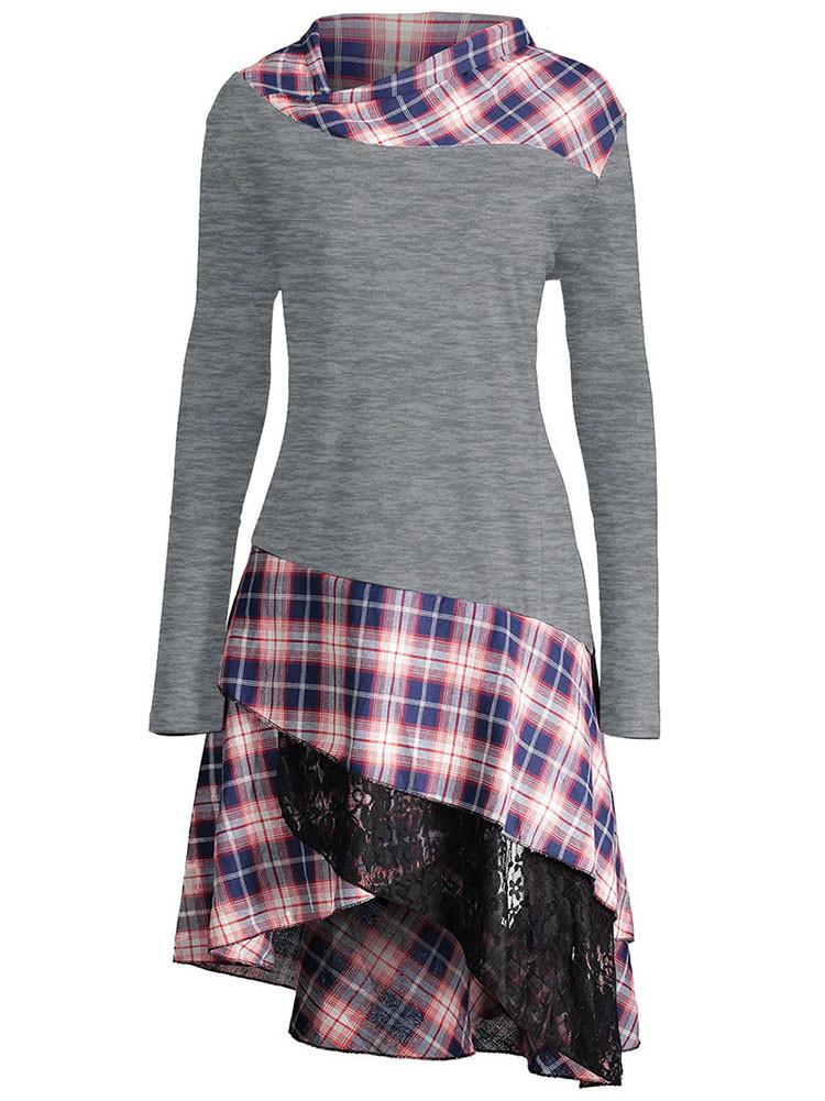 Lace Plaid Panel Tunic Top