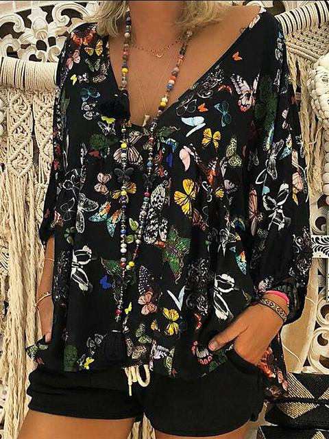 seven-quarters-sleeve-loose-print-top-zsy9936