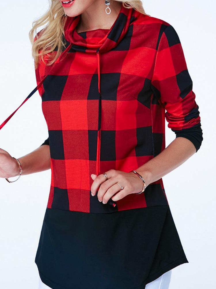 Contrast Color High Collar Plaid Top