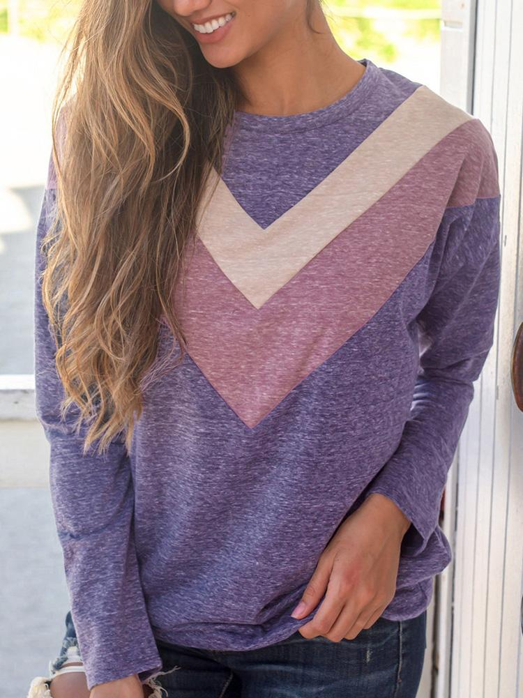 Round Neck Stitching Contrast Color Sweatshirt