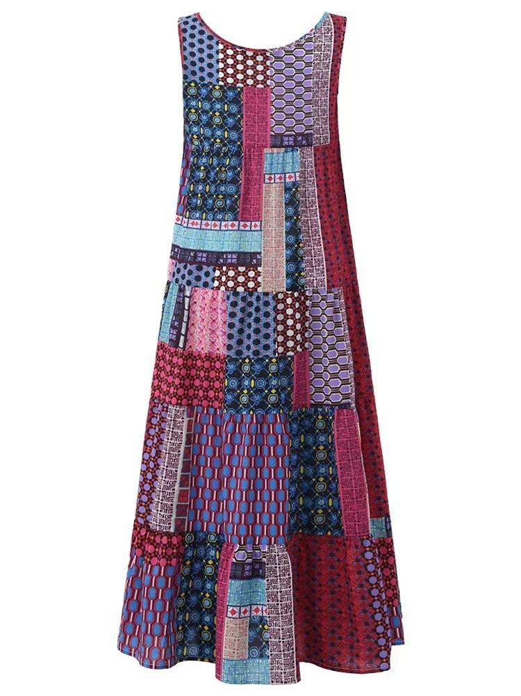 Boho Sleeveless Vintage Maxi Dress - shechic