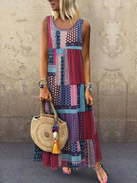 Boho Sleeveless Vintage Maxi Dress