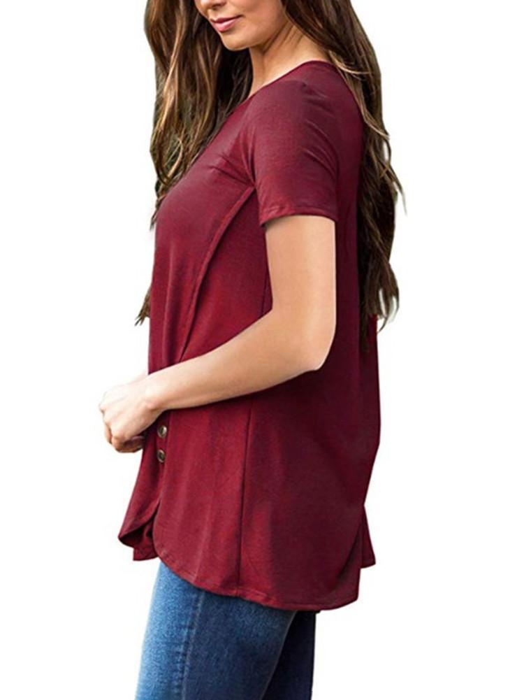 button-decor-short-sleeve-solid-tunic-tops