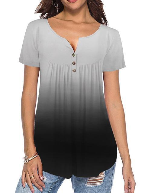 button-up-pleated-gradient-casual-blouse