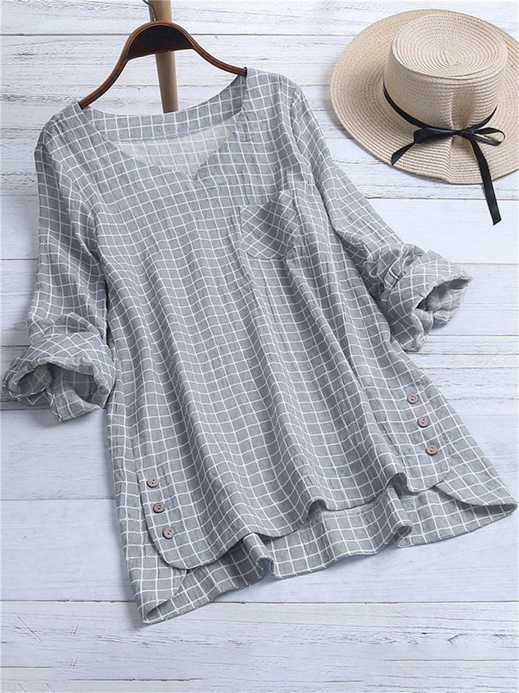 casual-plaid-loose-cotton-tops