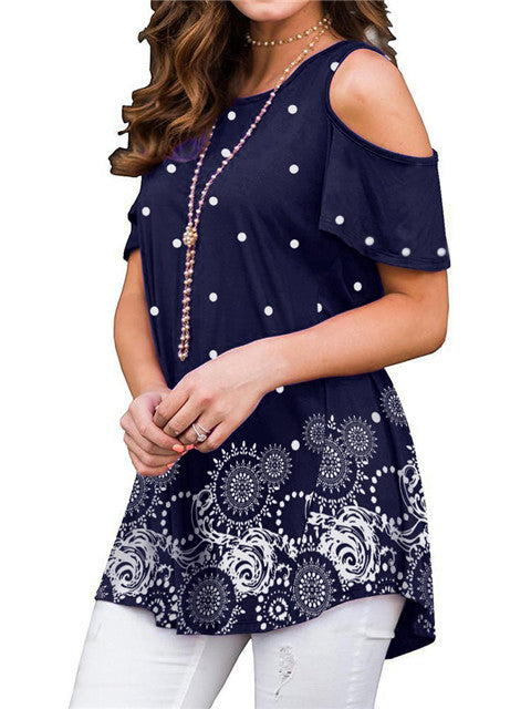 cold-shoulder-short-sleeve-printed-blouse