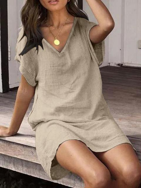 Cotton Linen Beach Summer Tunic Dress
