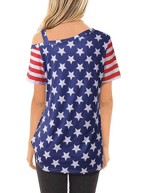 flag-print-skew-neck-knotted-t-shirt